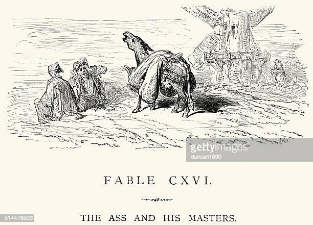 ilustraciones, imágenes clip art, dibujos animados e iconos de stock de la fontaine las fábulas-ass y su masters - mula