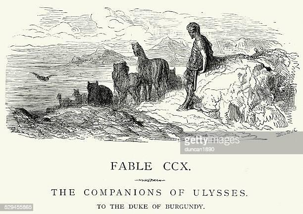 illustrations, cliparts, dessins animés et icônes de la fontaine les fables les compagnons d'ulysses - ulysse