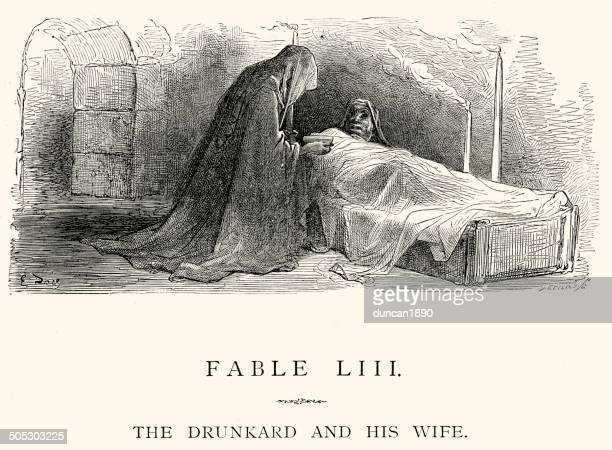 ilustraciones, imágenes clip art, dibujos animados e iconos de stock de la fontaine las fábulas-drunkard y su esposa - la muerte