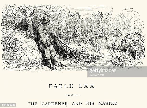 la fontaine's fables - the gardener and his master - landscape gardener stock illustrations, clip art, cartoons, & icons