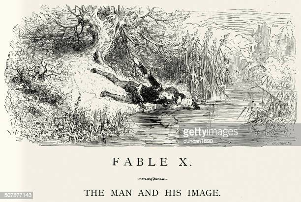 la fontaine's fables - the man and his image - mythological character stock illustrations, clip art, cartoons, & icons