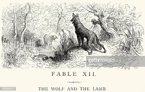 ilustrações de stock, clip art, desenhos animados e ícones de la fontaine fábulas de-lobo e o cordeiro - lobo