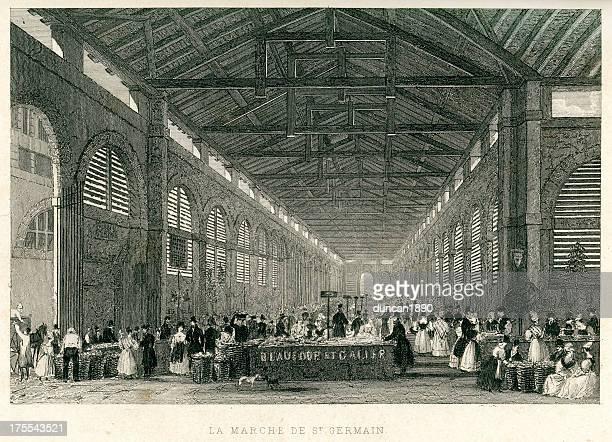 ilustraciones, imágenes clip art, dibujos animados e iconos de stock de la marche de st. germain - puesto de mercado