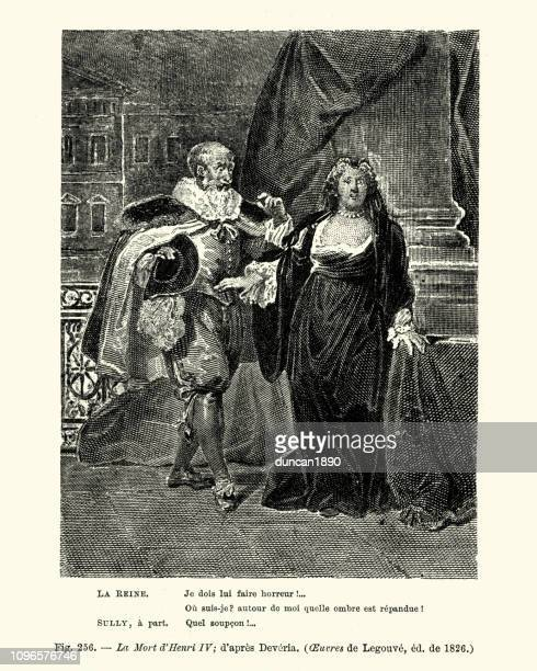 la mort d'henri iv, french early 19th century - henri iv of france stock illustrations