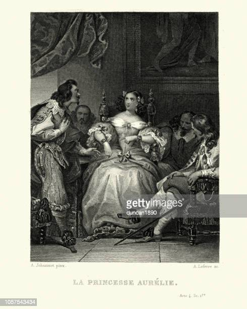 la princesse aurilie, princess surrounded by admirers - princess stock illustrations