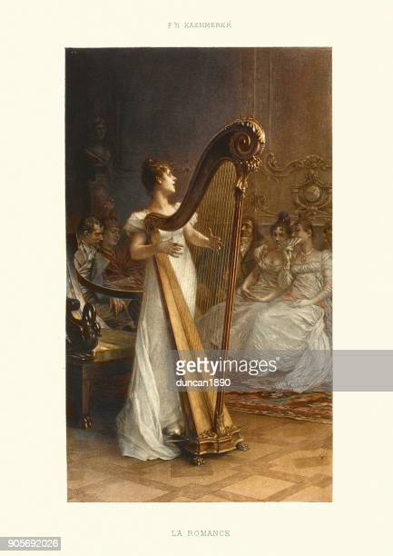 la romance, woman playing a harp, 19th century - classical stock illustrations