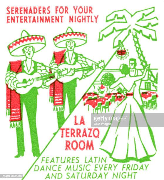 la terrazo room advertisement - sombrero stock illustrations