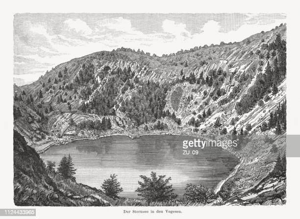 Lac des Perches (Sternsee), Haut-Rhin, France, wood engraving, published 1897