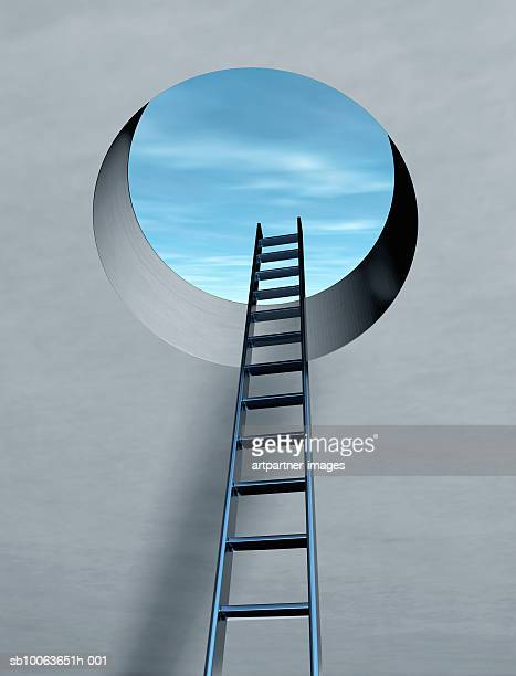 ladder through escape hatch - ideas stock illustrations
