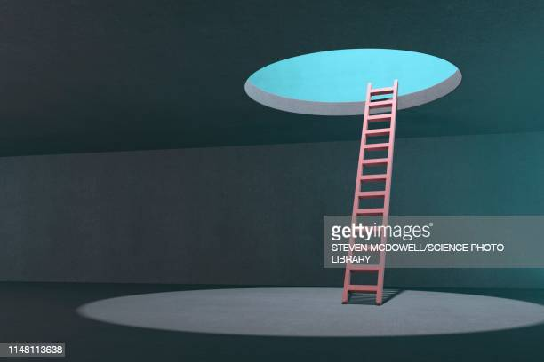 ladder to hole in ceiling, artwork - opportunity stock illustrations