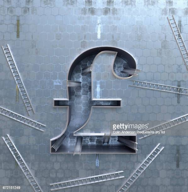 ladders scattered around three-dimensional british pound symbol - protection stock illustrations