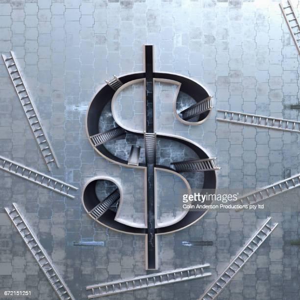 ilustrações, clipart, desenhos animados e ícones de ladders scattered around three-dimensional dollar symbol - símbolo do dólar