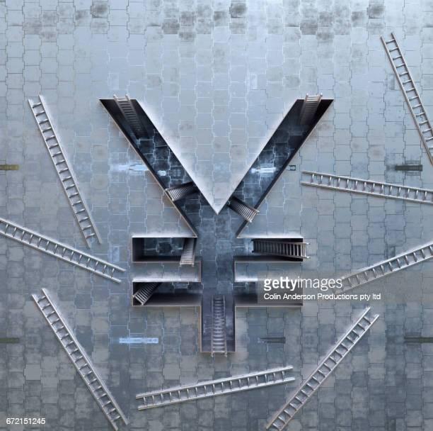 ladders scattered around three-dimensional yuan symbol - 中国元記号点のイラスト素材/クリップアート素材/マンガ素材/アイコン素材