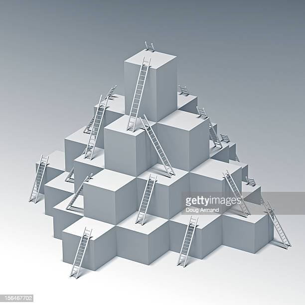 ladders to higher levels of a white cube structure - corporate business stock illustrations
