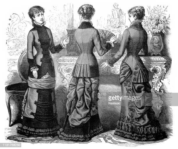 ladies fashion of the 1850's and 1860's; 19th century women's clothing - hood clothing stock illustrations