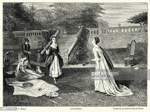 ladies playing a game of battledore and shuttlecock - badminton sport stock illustrations, clip art, cartoons, & icons