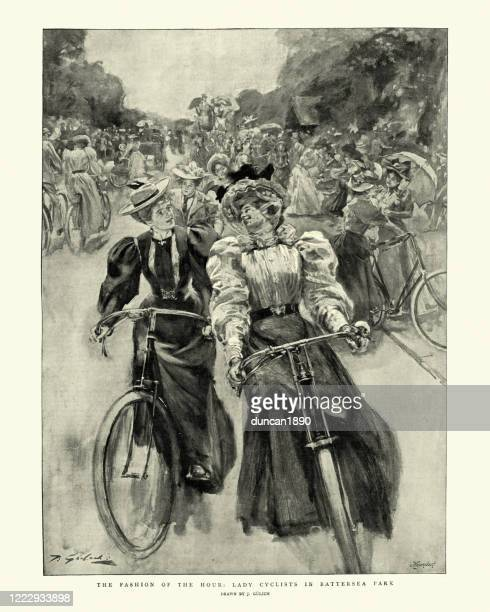 lady cyclists in battersea park, victorian women riding bicycles, 1895 - road marking stock illustrations