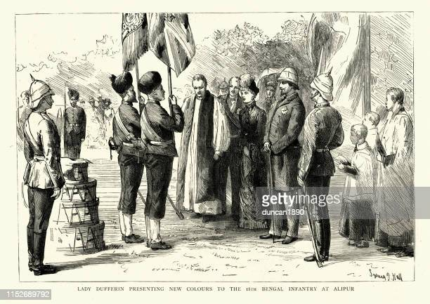 Lady Dufferin presenting new colours to the 18th Bengal Infantry