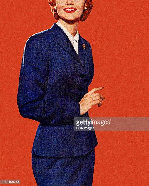 lady in blue suit - businesswear stock illustrations