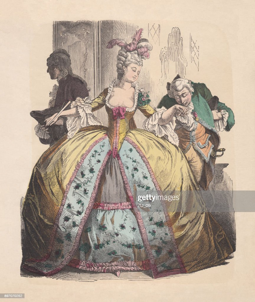 Lady in hoop skirt, Rococo era, hand-colored woodcut, published c.1880 : stock illustration
