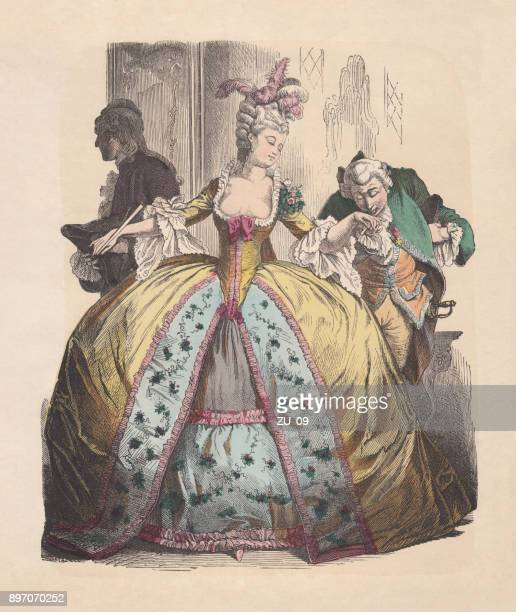 lady in hoop skirt, rococo era, hand-colored woodcut, published c.1880 - nice france stock illustrations, clip art, cartoons, & icons