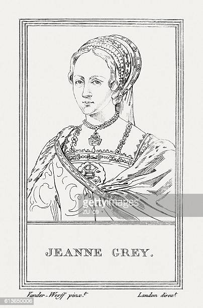lady jane grey (1536/3-1554), english noblewoman, copper engraving, published 1805 - sally gray stock illustrations