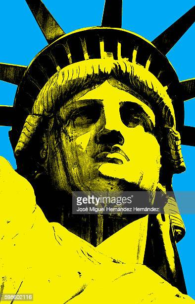 lady liberty of new york pop art style illustration - statue of liberty stock illustrations