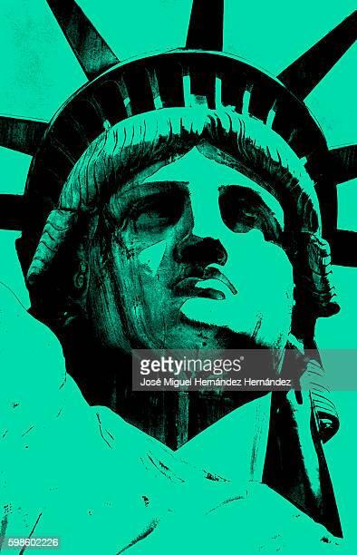 lady liberty of new york pop art style illustration - colour gradient stock illustrations