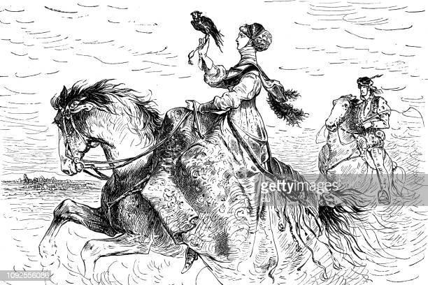 ilustrações de stock, clip art, desenhos animados e ícones de lady of the nobility on the falcon hunt - falcon bird
