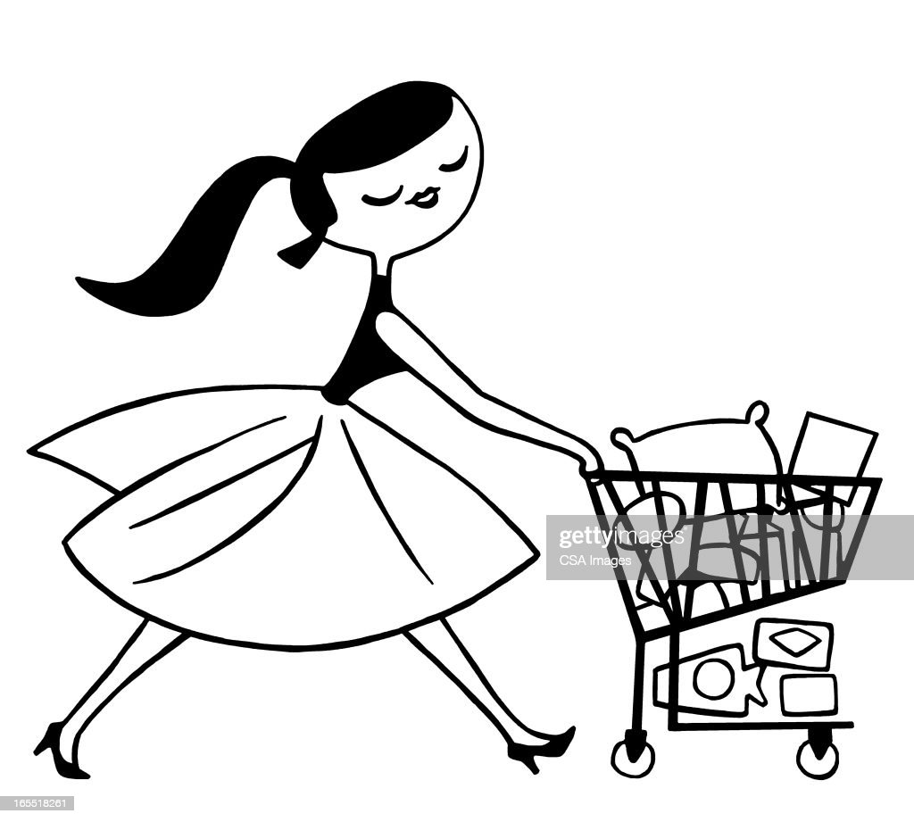 Lady Pushing a Shopping Cart : stock illustration