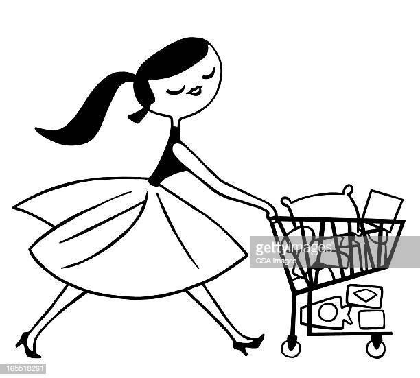 Lady Pushing a Shopping Cart