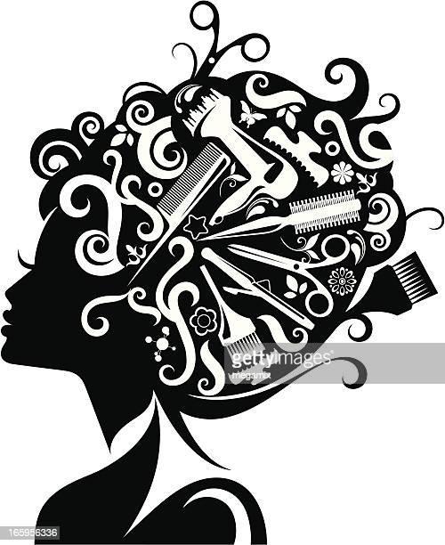 女性のシルエットでアクセサリー、ヘアーます。 - 美容師点のイラスト素材/クリップアート素材/マンガ素材/アイコン素材