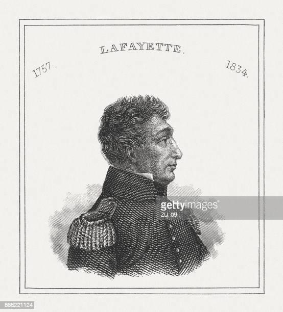 ilustrações, clipart, desenhos animados e ícones de lafayette (1757-1834), militar e aristocrata francês-americano, publicado em 1843 - american revolution
