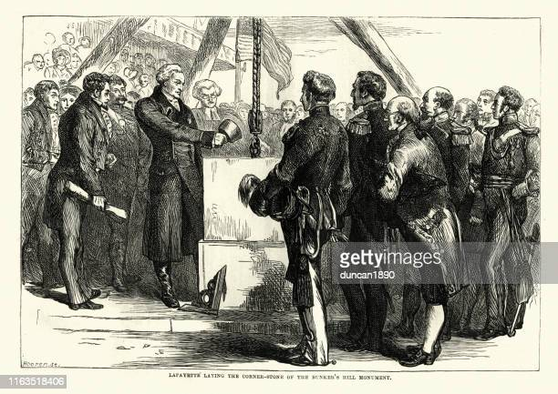 lafayette laying the cornerstone of the bunker's hill monument - bunker hill monument stock illustrations