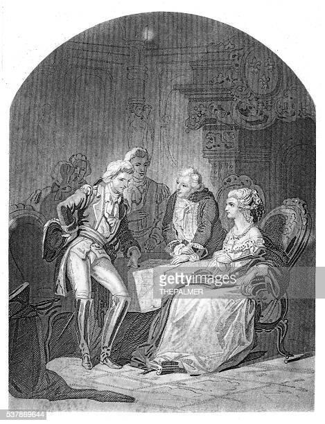 Lafayette Louis XVI and Marie Antoniette engraving 1859
