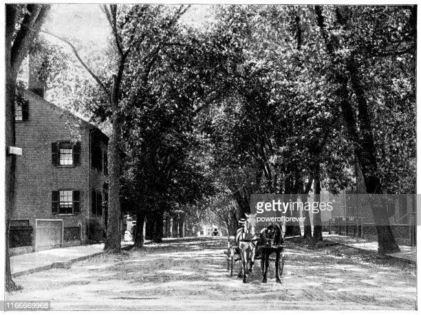 lafayette street in salem, massachusetts, united states - 19th century - carriage stock illustrations