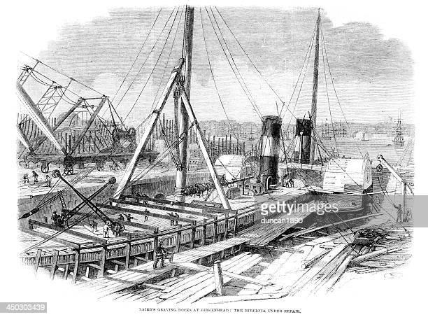 laird's graving docks at birkenhead - birkenhead stock illustrations
