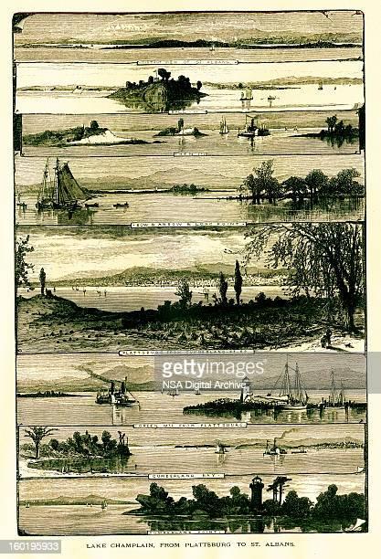 lake champlain from plattsburgh to st. albans, usa - village stock illustrations