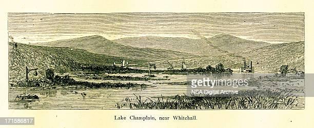 lake champlain near whitehall, new york - village stock illustrations