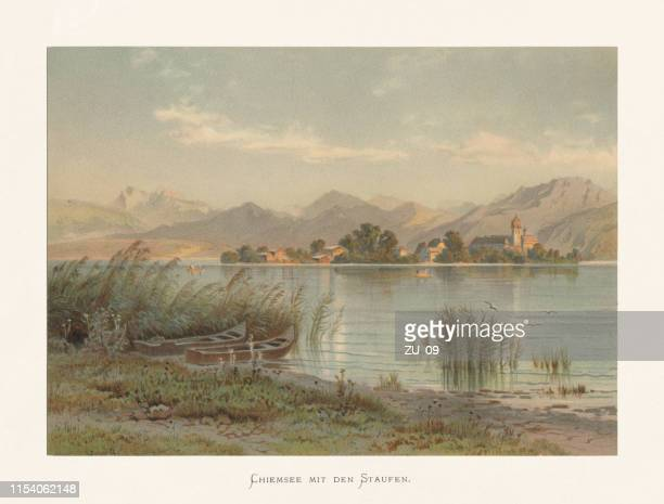 lake chiemsee with the staufen, bavaria, germany, chromolithograph, published ca.1874 - lakeshore stock illustrations