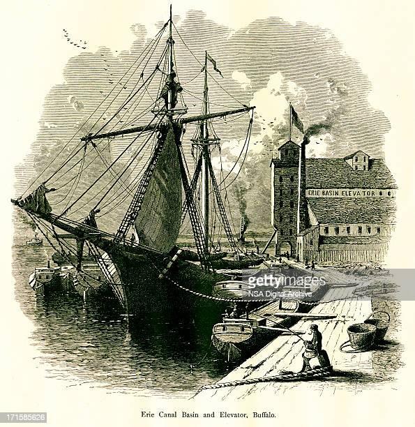 lake erie canal, buffalo, new york | historic american illustrations - lake erie stock illustrations, clip art, cartoons, & icons