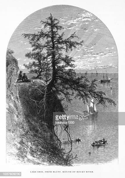 lake erie from a bluff ath the mouth of rocky river near cleveland, ohio, united states, american victorian engraving, 1872 - lake erie stock illustrations, clip art, cartoons, & icons