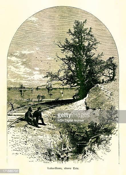 lake erie shore, pennsylvania - lake erie stock illustrations, clip art, cartoons, & icons