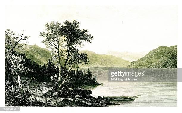 lake george, new york - hudson river stock illustrations