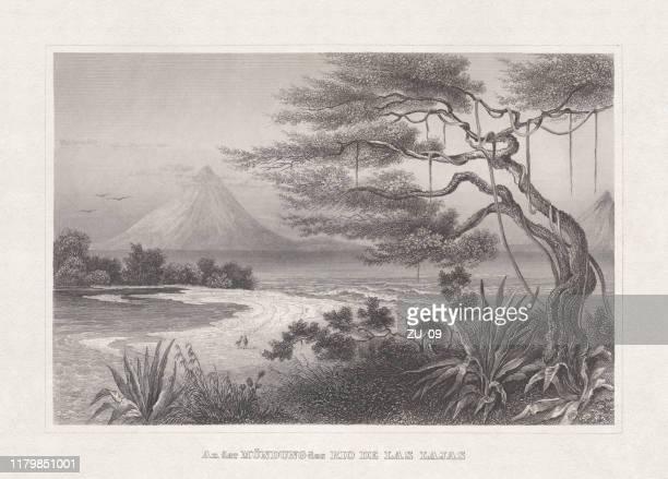 ニカラグア湖、鉄骨彫刻、1860年に出版 - ロマン主義点のイラスト素材/クリップアート素材/マンガ素材/アイコン素材