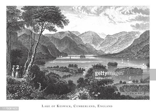 lake of keswick, cumberland, england, forests, lakes, caves and unusual rock formation engraving antique illustration, published 1851 - basalt stock illustrations, clip art, cartoons, & icons