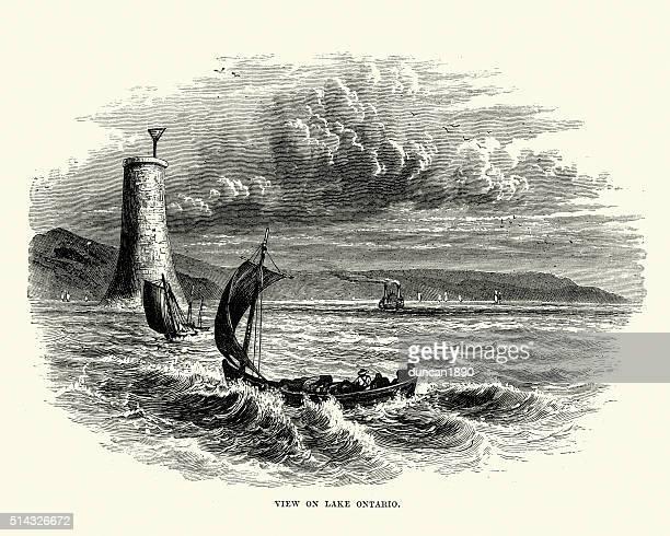 lake ontario, 19th century - lake ontario stock illustrations, clip art, cartoons, & icons