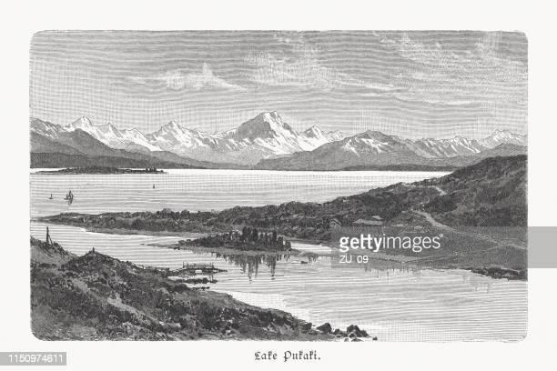 lake pukaki and mount cook range, new zealand, published 1897 - history stock illustrations