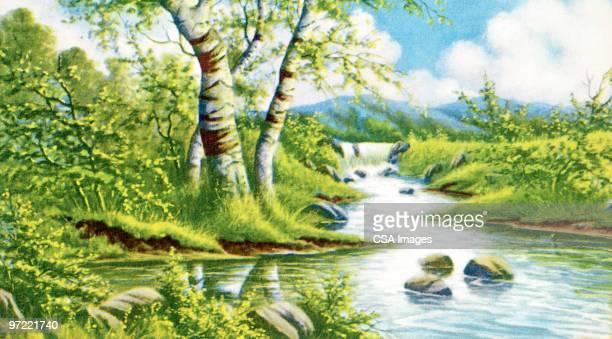 ilustraciones, imágenes clip art, dibujos animados e iconos de stock de lake scene - lago