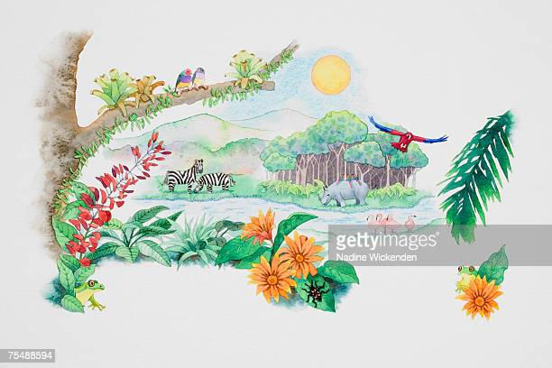 lake surrounded by lush grass and trees, zebras, hippo's, parrots and flamingos - humidity stock illustrations, clip art, cartoons, & icons